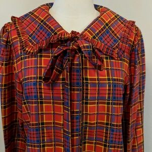 Ysl silk blouse in red/blue /yellow plaid print
